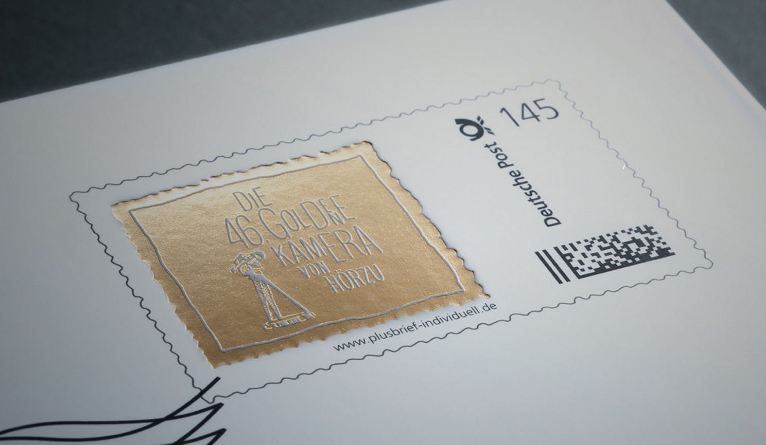 Goldene Kamera - stamping dorado